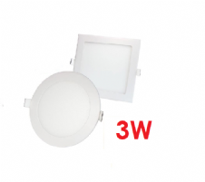 3W Recessed LED Panels Round and Square